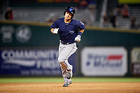 Mobile BayBears first baseman Matt Thaiss (21) rounds the bases after hitting a ninth inning home run during a game against the Jacksonville Jumbo Shrimp on April 14, 2018 at Baseball Grounds of Jacksonville in Jacksonville, Florida.  Mobile defeated Jacksonville 13-3.  (Mike Janes/Four Seam Images)