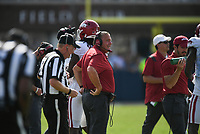 Arkansas head coach Sam Pittman looks on , Saturday, October 9, 2021 during the fourth quarter of a football game at Vaught Hemingway Stadium in Oxford, Miss. Check out nwaonline.com/211010Daily/ for today's photo gallery. <br /> (NWA Democrat-Gazette/Charlie Kaijo)