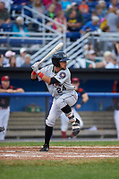 Tri-City ValleyCats second baseman Kristian Trompiz (24) at bat during a game against the Batavia Muckdogs on July 14, 2017 at Dwyer Stadium in Batavia, New York.  Batavia defeated Tri-City 8-4.  (Mike Janes/Four Seam Images)
