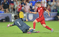 Orlando, FL - Friday Oct. 06, 2017: Jaime Penedo, Christian Pulisic during a 2018 FIFA World Cup Qualifier between the men's national teams of the United States (USA) and Panama (PAN) at Orlando City Stadium.