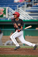 Batavia Muckdogs center fielder Brayan Hernandez (18) at bat during a game against the Lowell Spinners on July 16, 2018 at Dwyer Stadium in Batavia, New York.  Lowell defeated Batavia 4-3.  (Mike Janes/Four Seam Images)