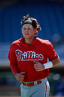 Philadelphia Phillies third baseman Alec Bohm (18) during a Florida Instructional League game against the Toronto Blue Jays on September 24, 2018 at Spectrum Field in Clearwater, Florida.  (Mike Janes/Four Seam Images)