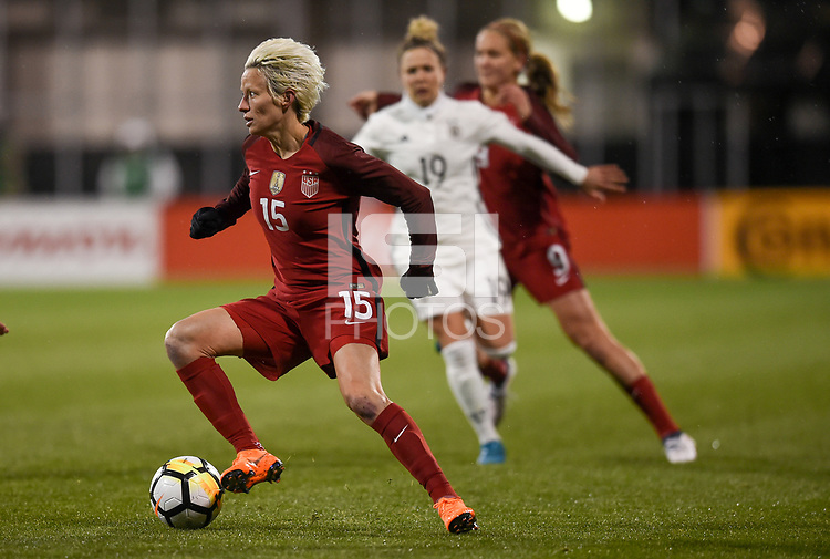 Columbus, Ohio - Thursday March 01, 2018: Megan Rapinoe during a 2018 SheBelieves Cup match between the women's national teams of the United States (USA) and Germany (GER) at MAPFRE Stadium.