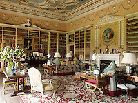 The 18th century library is used as the family drawing room