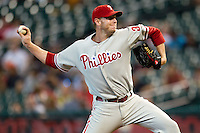 Philadelphia Phillies pitcher Roy Halladay #34 delivers a pitch during the Major League baseball game against the Houston Astros on September 16th, 2012 at Minute Maid Park in Houston, Texas. The Astros defeated the Phillies 7-6. (Andrew Woolley/Four Seam Images).