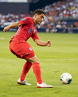 KANSAS CITY, KS - JUNE 26: Cristian Roldan #15 during a game between Panama and USMNT at Children's Mercy Park on June 26, 2019 in Kansas City, Kansas.