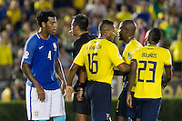 Action photo during the match Brazil vs Ecuador, Corresponding Group -B- America Cup Centenary 2016, at Rose Bowl Stadium<br /> <br /> Foto de accion durante el partido Brasil vs Ecuador, Correspondiante al Grupo -B-  de la Copa America Centenario USA 2016 en el Estadio Rose Bowl, en la foto:  (i-d) Gil de Brasil, Arbitro Julio Bascunan de Chile, Antonio Valencia y Miler Bolanos de Ecuador<br /> <br /> <br /> 04/06/2016/MEXSPORT/Victor Posadas.