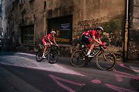 Vegard Stake Laengen (NOR/UAE-Emirates) & Kasper Asgreen (DEN) leading the race <br /> <br /> MEN ELITE ROAD RACE<br /> Kufstein to Innsbruck: 258.5 km<br /> <br /> UCI 2018 Road World Championships<br /> Innsbruck - Tirol / Austria