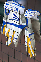 UCLA batting gloves on June 24, 2013 at TD Ameritrade Park in Omaha, Nebraska. (Andrew Woolley/Four Seam Images)