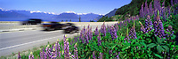 """Scenic """"Sea to Sky"""" Highway (Hwy 99) from Vancouver to Whistler, BC, British Columbia, Canada - Howe Sound and Coast Mountains in Distance - Panoramic View"""