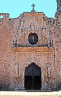 San Antonio:  Mission San Jose, church facade. Photo '96.