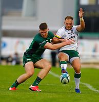 11th September 2021; Galway Greyhound Stadium, Connacht, Galway, Ireland; Pre-season rugby union, Connacht versus London Irish; Matt Williams kicks the ball forward for London Irish