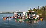 Canoe flotilla Yellowknife Bay