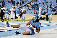 CHAPEL HILL, NC - NOVEMBER 23: Jake Bargas #80 of the University of North Carolina catches a touchdown pass during a game between Mercer University and University of North Carolina at Kenan Memorial Stadium on November 23, 2019 in Chapel Hill, North Carolina.