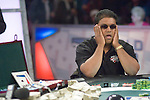 """Victor Ramdin agonizes over a move on the final hand of play.  He then celebrates his winning the tournament by """"belly flopping"""" on the poker table and raising his arms in victory...Victor Ramdin Wins The Foxwoods Poker Classic ($1,331,889).Log: Hand #120 - Alex Jacob has the button and moves all in. Victor Ramdin calls and showsAh-Js Jacob flips over Kd-Jc and the flop comes Qh-7h-3s. Ramdin retains the lead. The turn is the 8s and Jacob has to have a king on the river to stay alive. The river is the Jh and Victor Ramdin has won the Foxwoods Poker Classic...Alex Jacob finishes in second place and wins $655,507."""