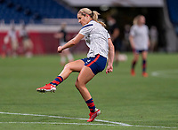 SAITAMA, JAPAN - JULY 24: Lindsey Horan #9 of the USWNT warms up before a game between New Zealand and USWNT at Saitama Stadium on July 24, 2021 in Saitama, Japan.