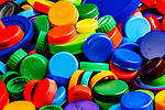 Plastic bottle caps collected from trash.