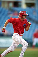 Clearwater Threshers center fielder Mark Laird (6) runs to first base during a game against the Palm Beach Cardinals on April 14, 2017 at Spectrum Field in Clearwater, Florida.  Clearwater defeated Palm Beach 6-2.  (Mike Janes/Four Seam Images)