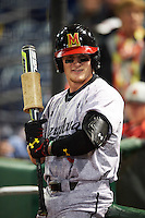 Maryland Terrapins center fielder Zach Jancarski (3) before a game against the Louisville Cardinals on February 18, 2017 at Spectrum Field in Clearwater, Florida.  Louisville defeated Maryland 10-7.  (Mike Janes/Four Seam Images)