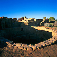 Mesa Verde National Park, Colorado, USA - 'Far View House' at 'Far View Sites', an Ancestral Puebloan aka Anasazi Dwelling and Ruins - Kiva in foreground