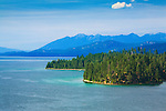 Flathead Lake shore line in western Montana