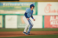 William Hancock (7) of the Burlington Royals takes his lead off of second base against the Danville Braves at Burlington Athletic Stadium on August 9, 2019 in Burlington, North Carolina. The Royals defeated the Braves 6-0. (Brian Westerholt/Four Seam Images)