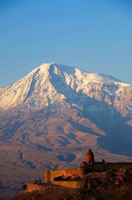 ARMENIA, NEAR YEREVAN, VIEW OF KHOR VIRAB MONASTERY WITH MT. ARARAT