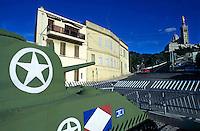 Jeanne d'Arc tank facing the basilica of Notre Dame de la Garde, Roucas Blanc District, Marseille, France.