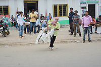 Pictured: Congress activists<br />  Re: Activists of the Congress political party clash with police in protest against price rises in oil, gas and other daily commmodities by BJP government in Agartala, in the Tripura area of India. Monday 10 September 2018