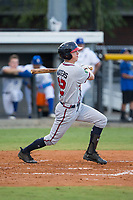 Drew Waters (12) of the Danville Braves follows through on his swing against the Burlington Royals at Burlington Athletic Stadium on August 15, 2017 in Burlington, North Carolina.  The Royals defeated the Braves 6-2.  (Brian Westerholt/Four Seam Images)