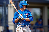 GCL Blue Jays center fielder Dominic Abbadessa (6) at bat during the first game of a doubleheader against the GCL Yankees East on July 24, 2017 at the Yankees Minor League Complex in Tampa, Florida.  GCL Blue Jays defeated the GCL Yankees East 6-3 in a game that originally started on July 8th.  (Mike Janes/Four Seam Images)