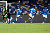 Elseid Hysaj of SSC Napoli celebrates with Giovanni Di Lorenzo and Jose Callejon after scoring the goal of 1-0 during the Serie A football match between SSC Napoli and US Sassuolo at stadio San Paolo in Napoli ( Italy ), July 25th, 2020. Play resumes behind closed doors following the outbreak of the coronavirus disease. <br /> Photo Cesare Purini / Insidefoto