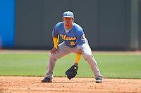 Myrtle Beach Pelicans first baseman Jorge Alfaro (24) on defense against the Winston-Salem Dash at BB&T Ballpark on May 7, 2014 in Winston-Salem, North Carolina.  The Pelicans defeated the Dash 5-4 in 11 innings.  (Brian Westerholt/Four Seam Images)
