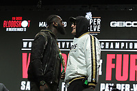 Deontay Wilder, USA, and Tyson Fury, UK, during their press conference Wednesday, February. 19, 2020 at the MGM Grand Las Vegas. The boxers will fight for the World Boxing Council (WBC) Heavyweight Championship Title Saturday, February 22, 2020 at the MGM Grand Garden Arena in Las Vegas, NV.