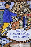 Europe/France/Bretagne/29/Finistère/Douarnenez: Vieux panneau touristique en céramique peinte sur le port