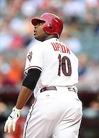 May 31, 2011; Phoenix, AZ, USA; Arizona Diamondbacks outfielder Justin Upton hits a home run in the first inning against the Florida Marlins at Chase Field. Mandatory Credit: Mark J. Rebilas-