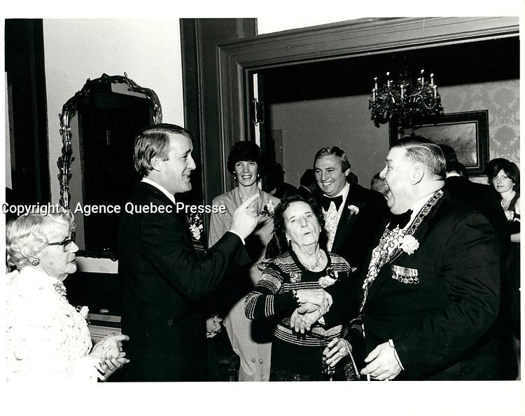 Brian Mulroney , Defile de la St-Patrick , le 16 Mars 1980<br /> <br /> PHOTO : Agence Quebec Presse