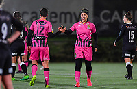 Julie Challe (12 Charleroi) pictured with Yasaman Farmani (6 Charleroi) during a female soccer game between Sporting Charleroi and Eendracht Aalst on the 8th  matchday of the 2020 - 2021 season of Belgian Scooore Womens Super League , friday 20 th of November 2020  in Marcinelle , Belgium . PHOTO SPORTPIX.BE | SPP | DAVID CATRY