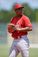 GCL Cardinals pitcher Rodard Avelino gets ready to deliver a pitch during a game against the GCL Mets on August 6, 2018 at Roger Dean Chevrolet Stadium in Jupiter, Florida.  GCL Cardinals defeated GCL Mets 6-3.  (Mike Janes/Four Seam Images)