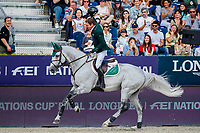 IRL-Darragh Kenny rides VDL Cartello during the Longines FEI Jumping Nations Cup™ Final Competition. 2021 ESP-Longines FEI Jumping Nations Cup Final. Real Club de Polo, Barcelona. Spain. Sunday 3 October 2021. Copyright Photo: Libby Law Photography