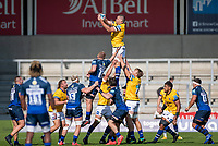 13th September 2020; AJ Bell Stadium, Salford, Lancashire, England; English Premiership Rugby, Sale Sharks versus Bath;  Charlie Ewels (C) of Bath Rugby rises to take a line out ball