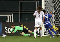 Kyle Beckerman #5 of the USA watches Troy Perkins #1 make a save in front of Rigoberto Padilla #7 of Honduras during a CONCACAF Gold Cup match at RFK Stadium on July 8 2009 in Washington D.C. USA won 2-0.