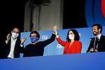 President of Community of Madrid and Candidate Isabel Diaz Ayuso celebrates with Pablo Casado (r), President of the Popular Party, Teodoro Garcia Egea, General Secretary (l) and Jose Luis Martinez-Almeida (2l), Mayor of Madrid, the victory in the Madrid regional elections at the PP headquarters on May 04, 2021 in Madrid, Spain.(AlterPhotos/Ramiro Ellis)