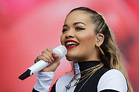 Pictured: Rita Ora on stage. Sunday 27 May 2018<br /> Re: BBC Radio 1 Biggest Weekend at Singleton Park in Swansea, Wales, UK.