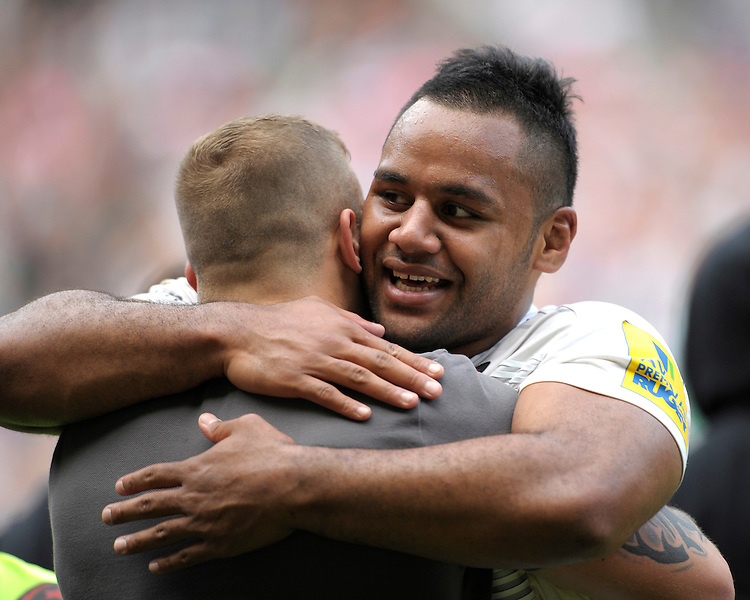 Billy Vunipola of Saracens celebrates winning the Aviva Premiership Rugby Final between Bath Rugby and Saracens at Twickenham Stadium on Saturday 30th May 2015 (Photo by Rob Munro)