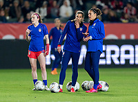 CARSON, CA - FEBRUARY 7: Tobin Heath #17 and Carli Lloyd #10 of the United States talk during a game between Mexico and USWNT at Dignity Health Sports Park on February 7, 2020 in Carson, California.