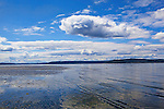 Low tide on a day with sunny skies and puffy clouds at Dash Point State Park in Federal Way, WA reveals tide flats and tide pools scenic vistas.  Maury Island and Vashon Island, Wa in background.