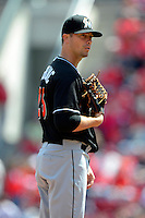 Miami Marlins pitcher Wade LeBlanc #23 during a game against the Cincinnati Reds at Great American Ball Park on April 20, 2013 in Cincinnati, Ohio.  Cincinnati defeated Miami 3-2 in 13 innings.  (Mike Janes/Four Seam Images)