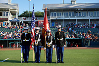 Frisco RoughRiders flag presentation before a Texas League game against the Springfield Cardinals on May 4, 2019 at Dr Pepper Ballpark in Frisco, Texas.  (Mike Augustin/Four Seam Images)