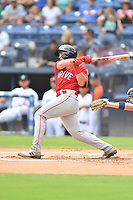 Greenville Drive Cam Cannon (4) swings at a pitch during a game against the Asheville Tourists on July 18, 2021 at McCormick Field in Asheville, NC. (Tony Farlow/Four Seam Images)
